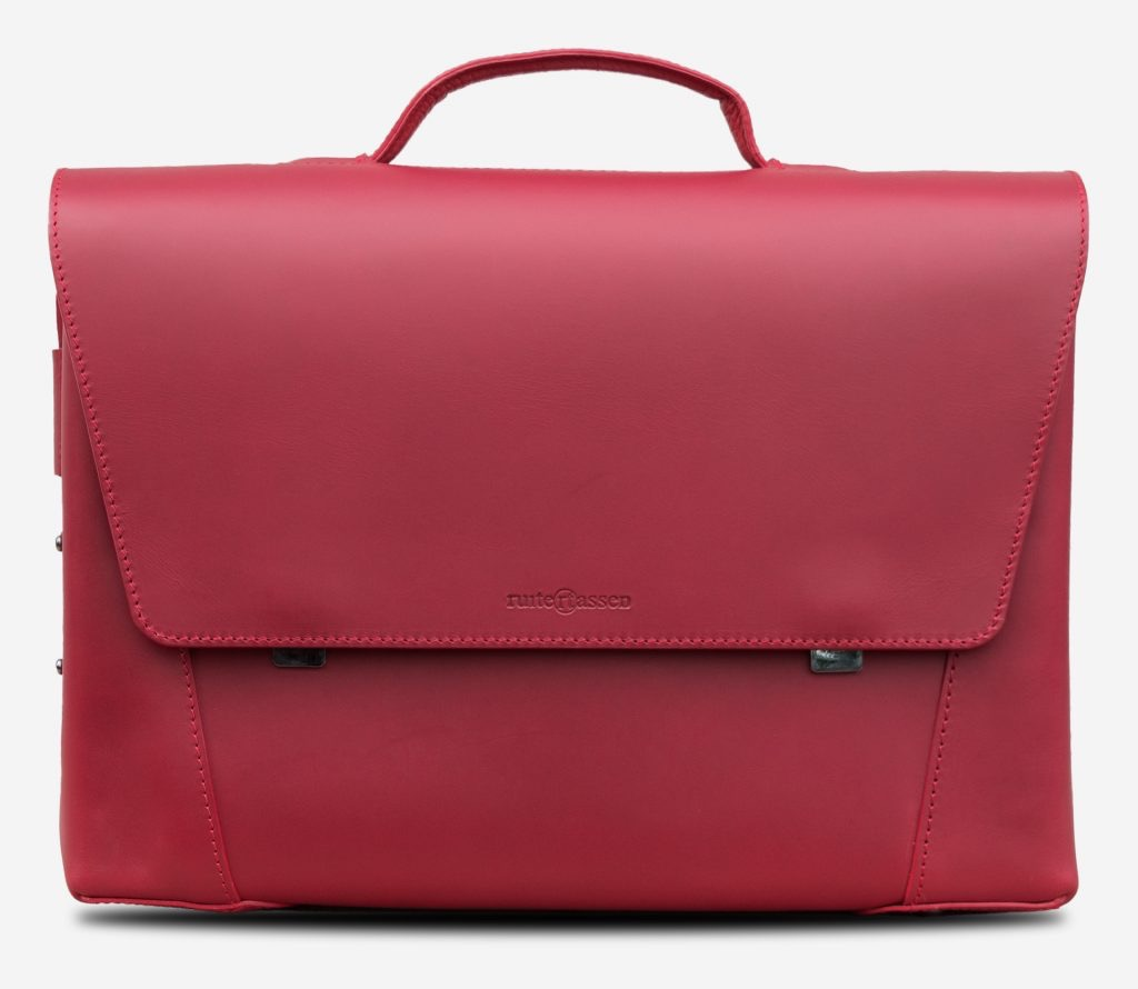 Front view of the large red vegetable-tanned leather briefcase bag with laptop pocket for women.
