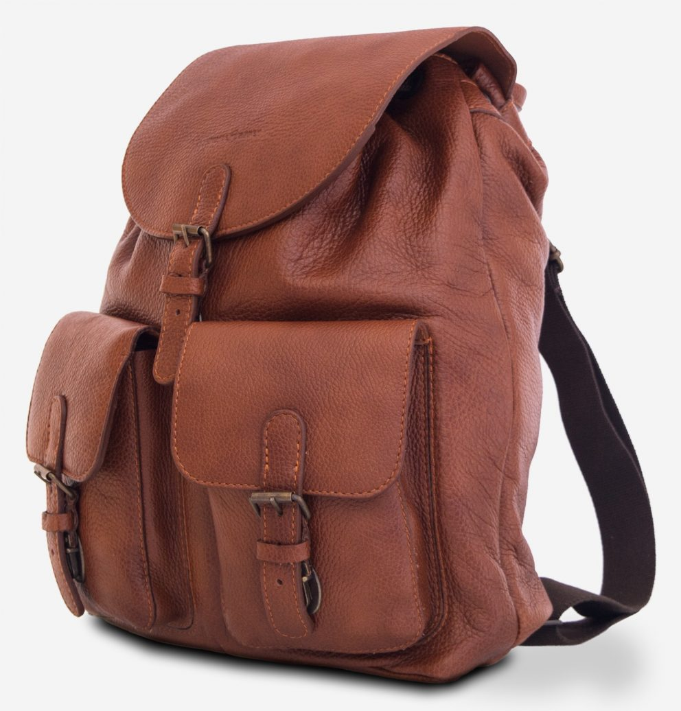 Side of the elegant brown soft leather backpack.