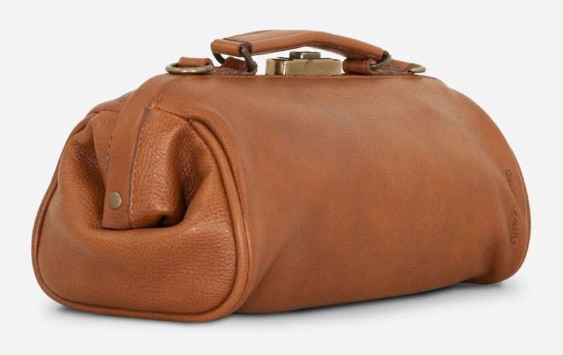 Back view of the soft brown leather doctor bag for women.