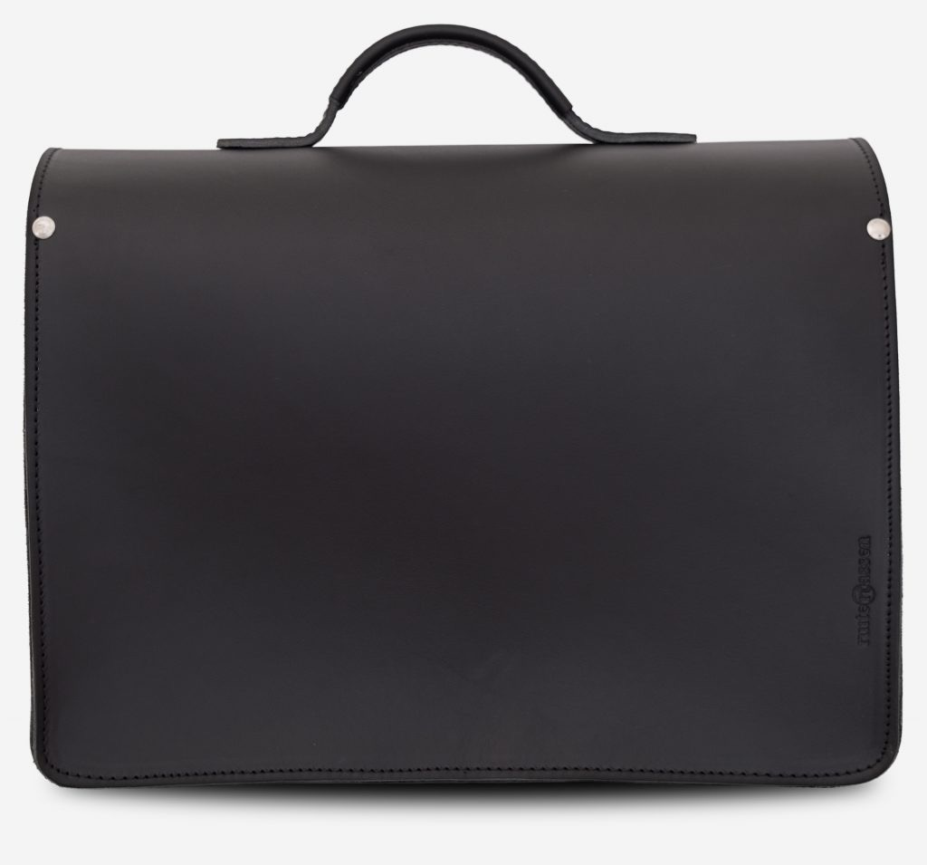 Back view of black leather satchel briefcase with 3 gussets and symmetric front pockets 112139.