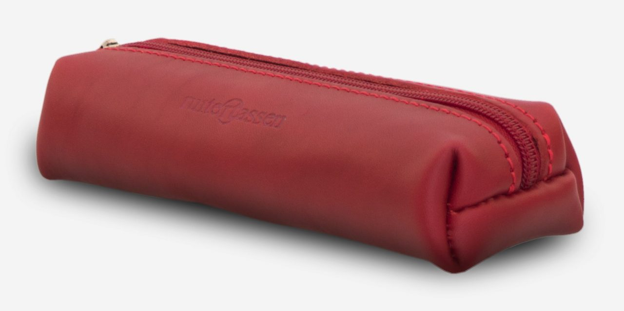 Side view of red leather pencil bag - 150006.