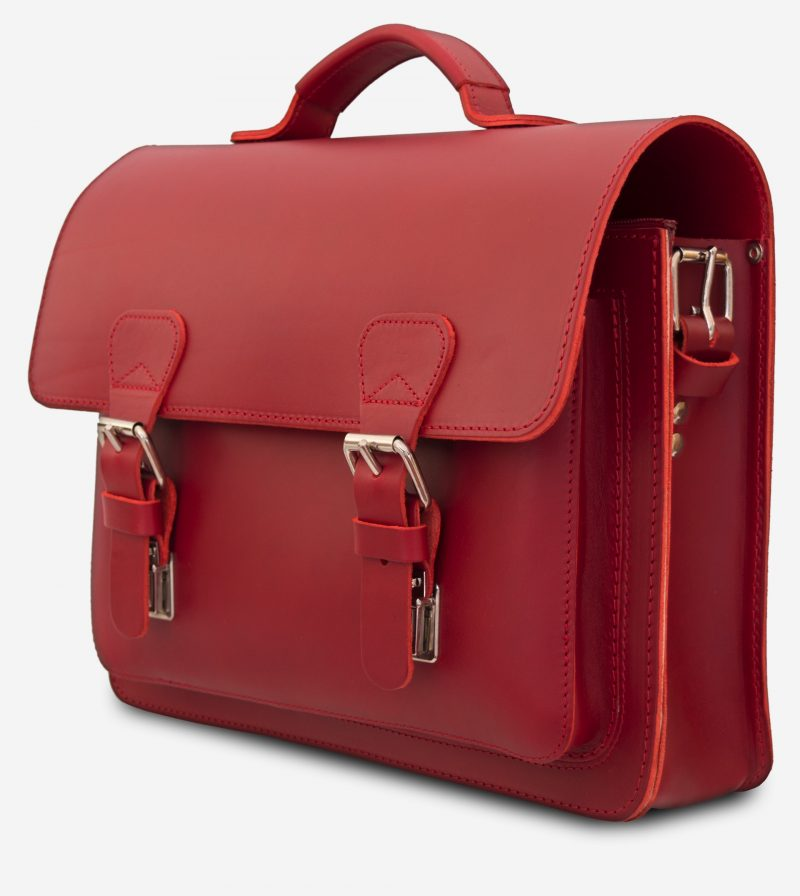 Side view of red leather briefcase bag with 1 compartment for women - 152103.