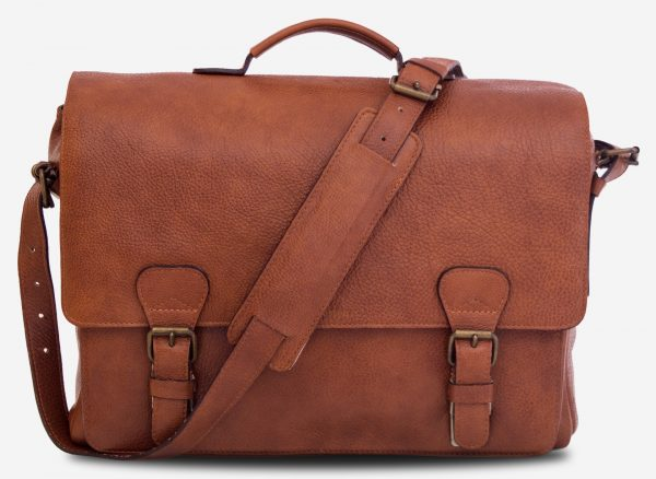 "Front view of the 15"" soft brown leather satchel briefcase with shoulder belt."