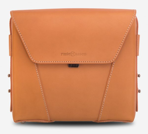 Front view of the the small vegetable tanned leather crossbody bag.