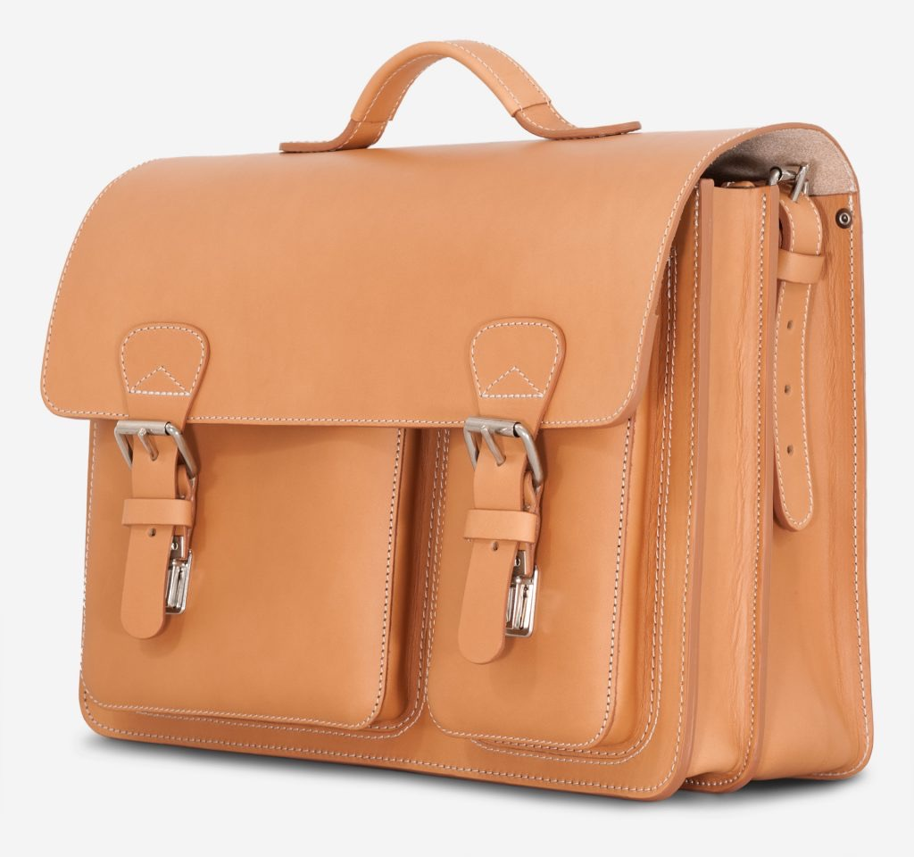Front view of tan leather satchel briefcase with laptop pocket.
