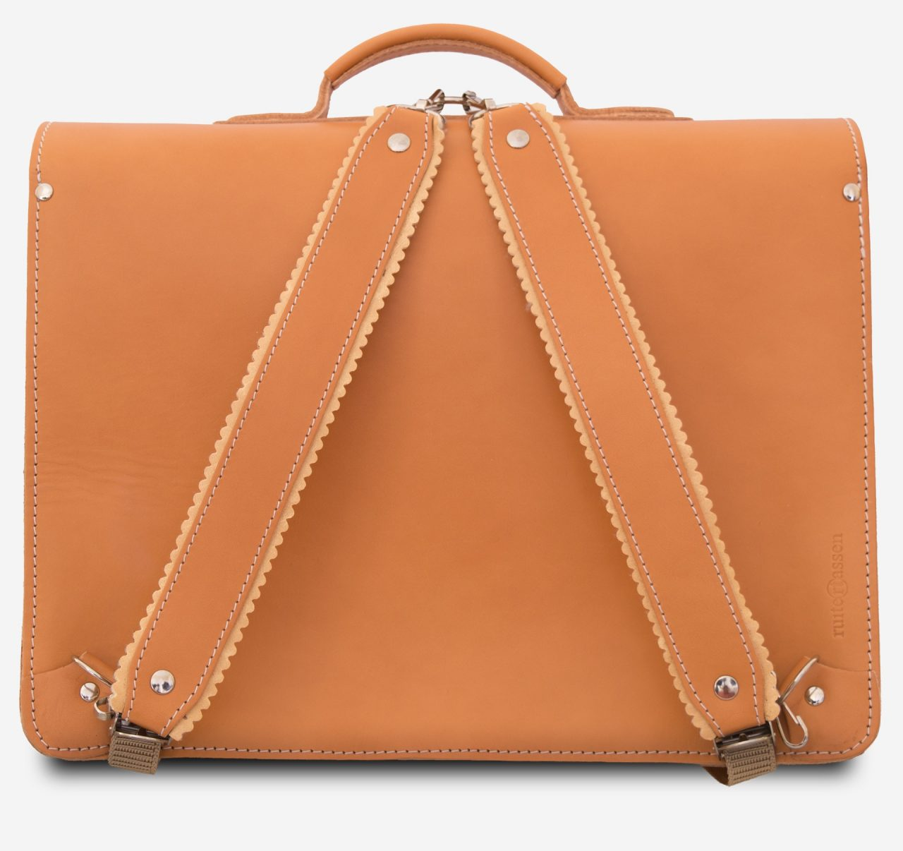 Back view of tan leather satchel backpack fitted with shoulder straps.