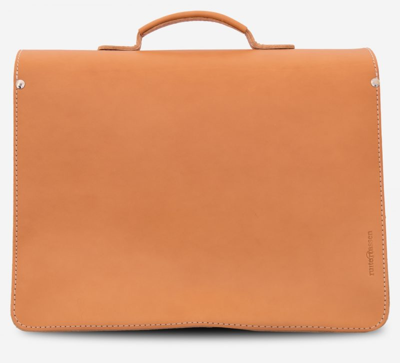 Back view of the tan leather briefcase.