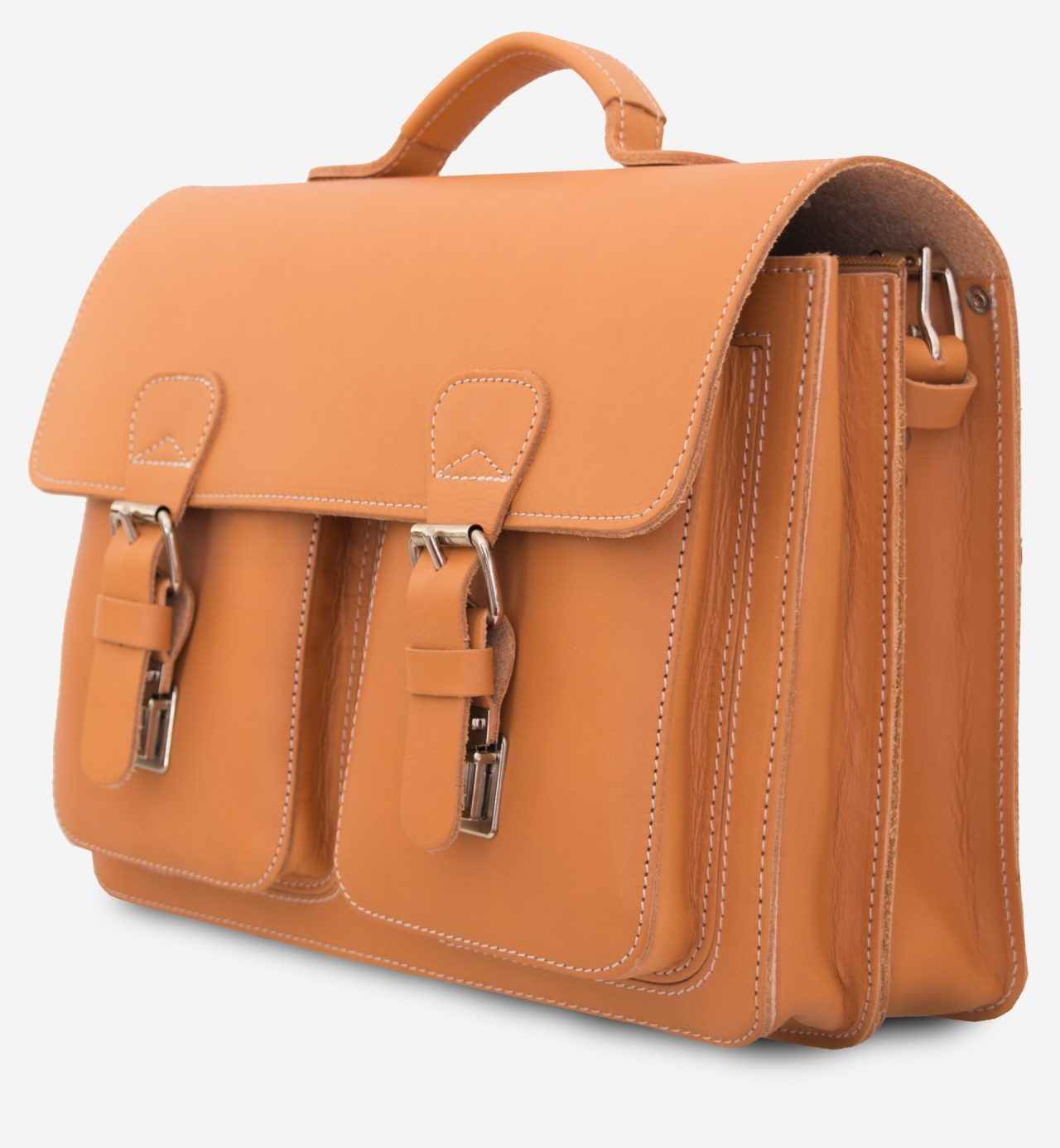 Side view of tan leather professor satchel with 2 compartments and 2 front pockets.