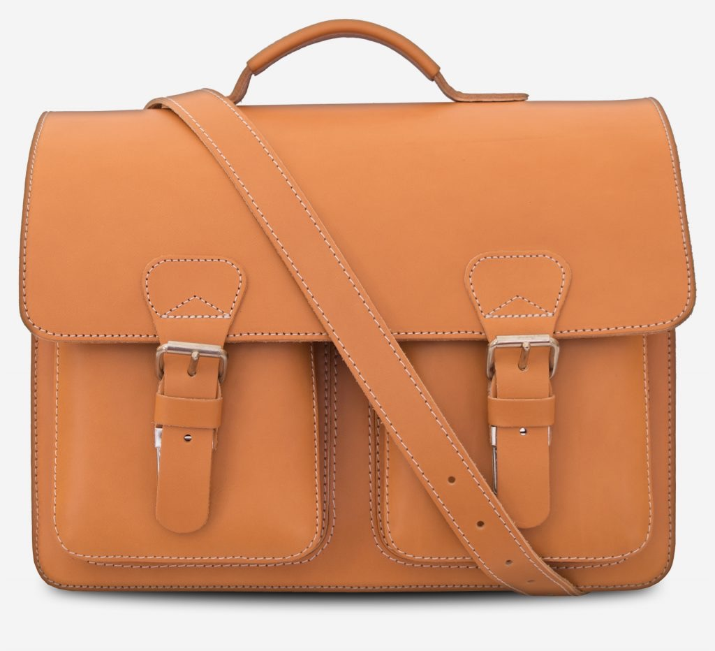 Front view of the 3 compartments Professor tan leather satchel with a leather shoulder strap.