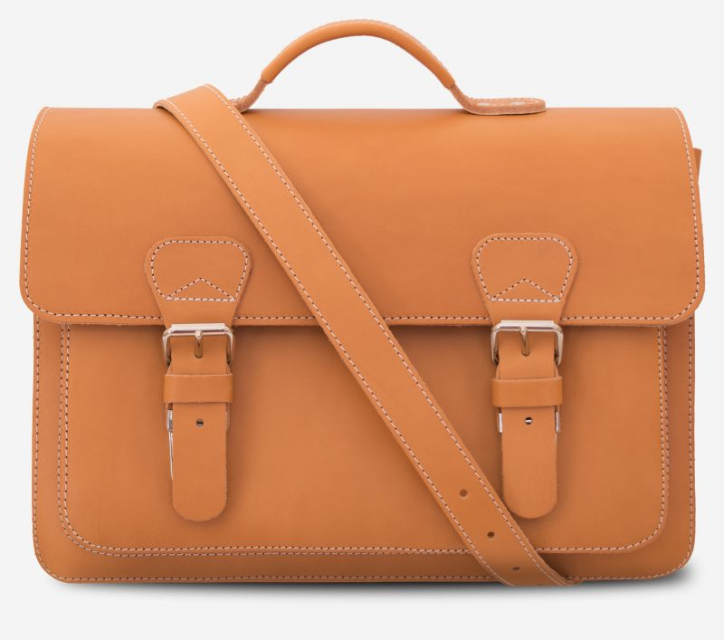 Front view of the 2 compartments student tan leather satchel with a leather shoulder strap.