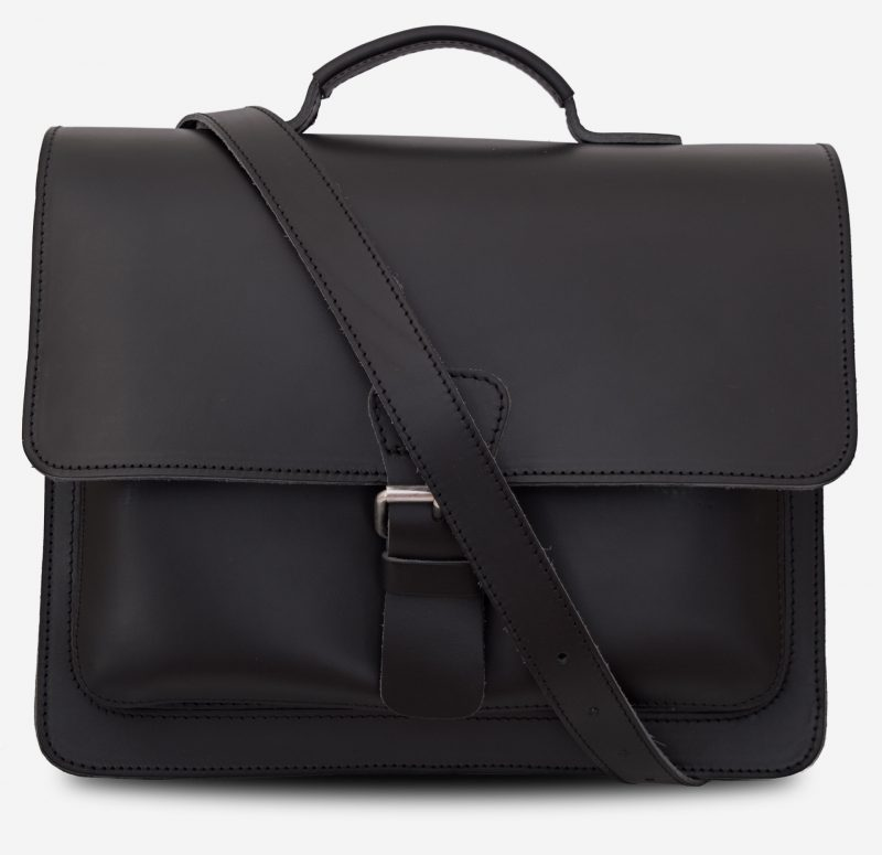 Front view of black leather briefcase with 1 compartment and large front pocket 112141.