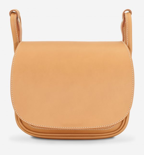 Front view of the elegant tan leather shoulder bag for women.