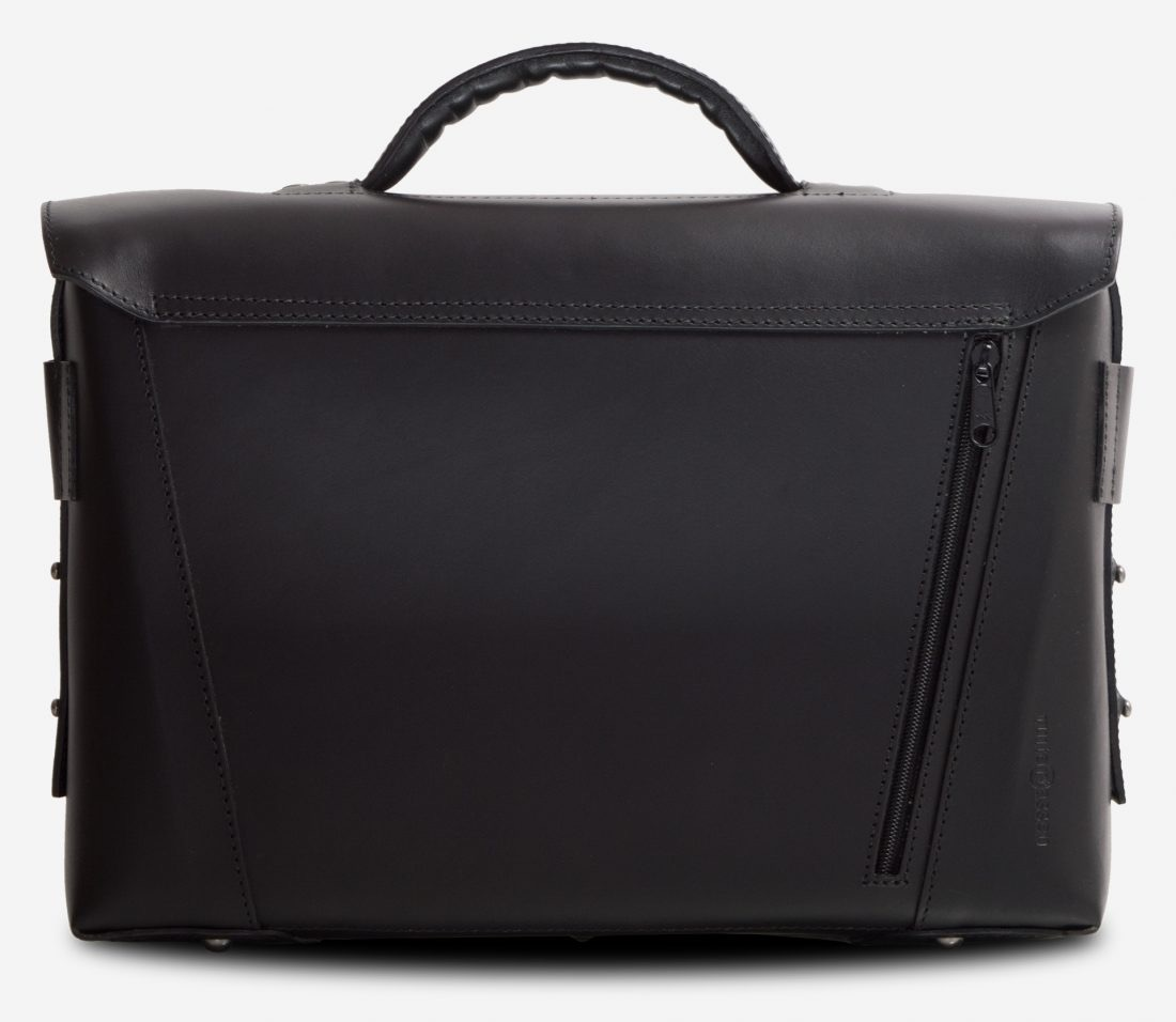 Back view of the black vegetable-tanned leather briefcase bag with laptop pocket.
