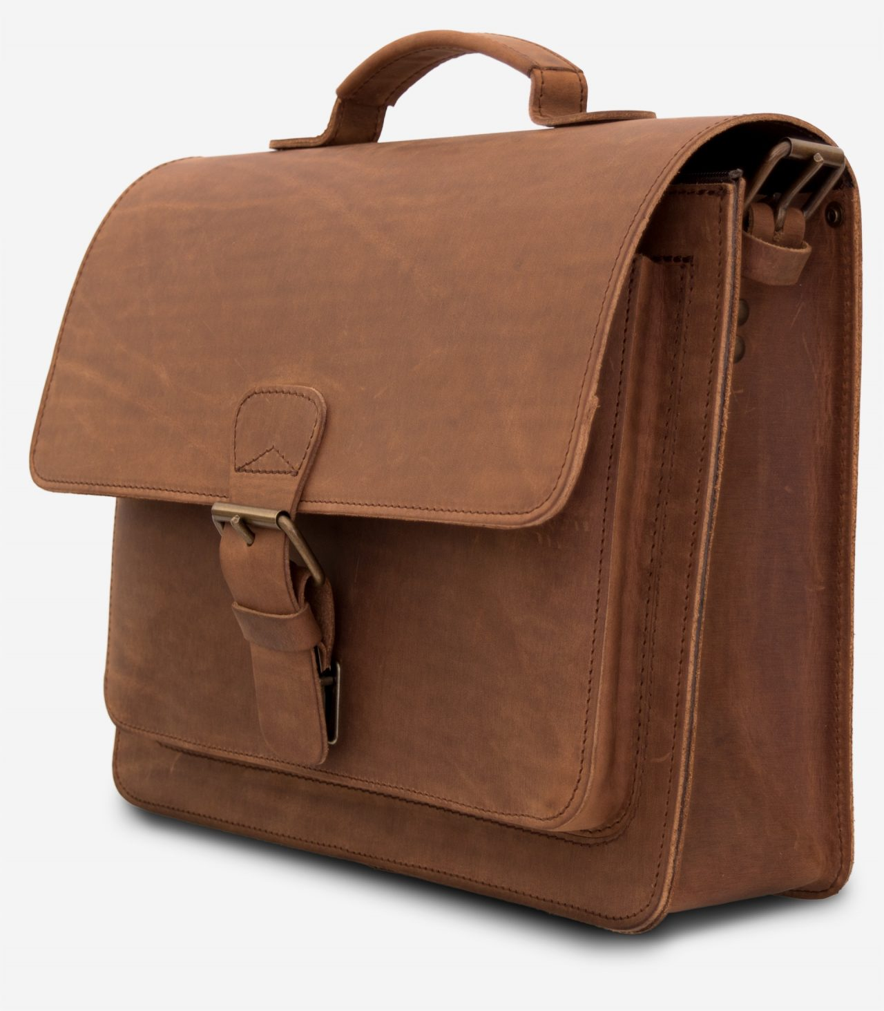 Side view of the brown leather briefcase with a single compartment.