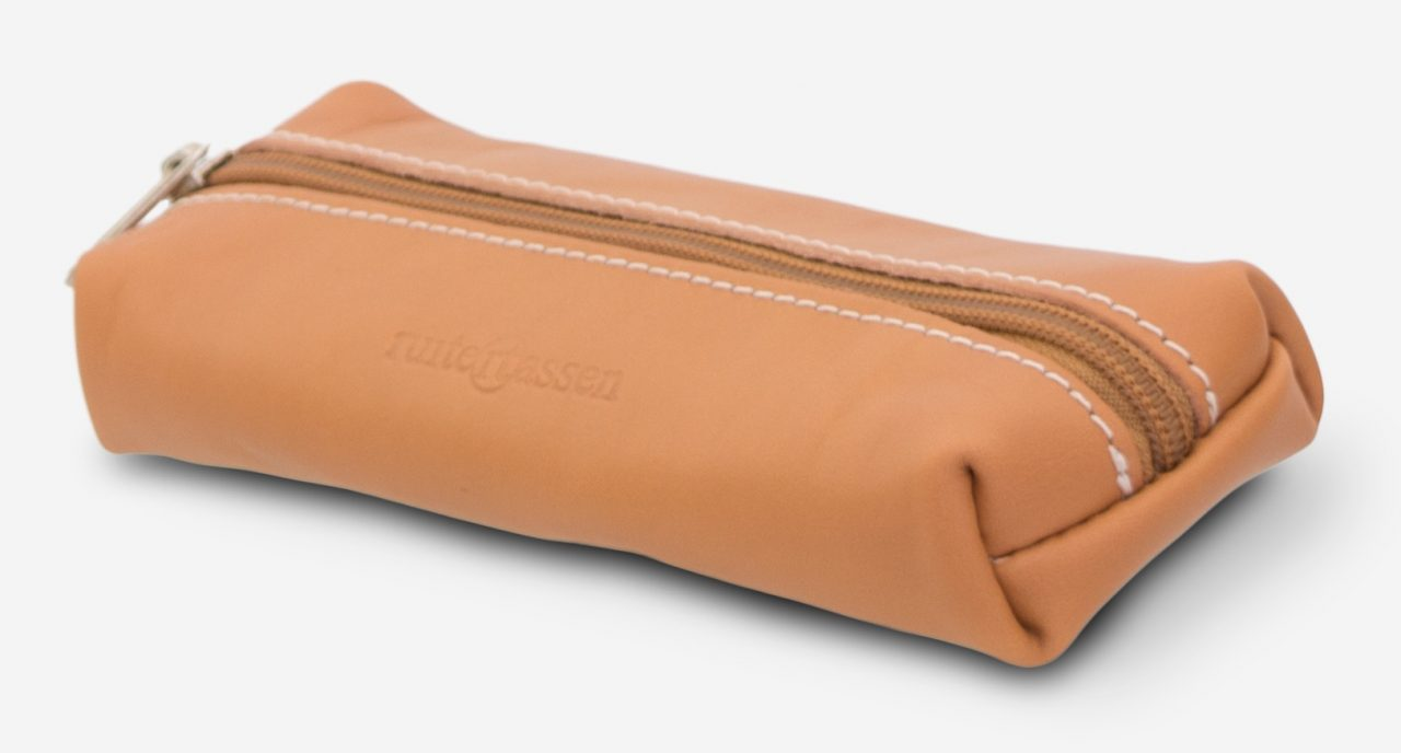 Top view of the tan leather pencil case.