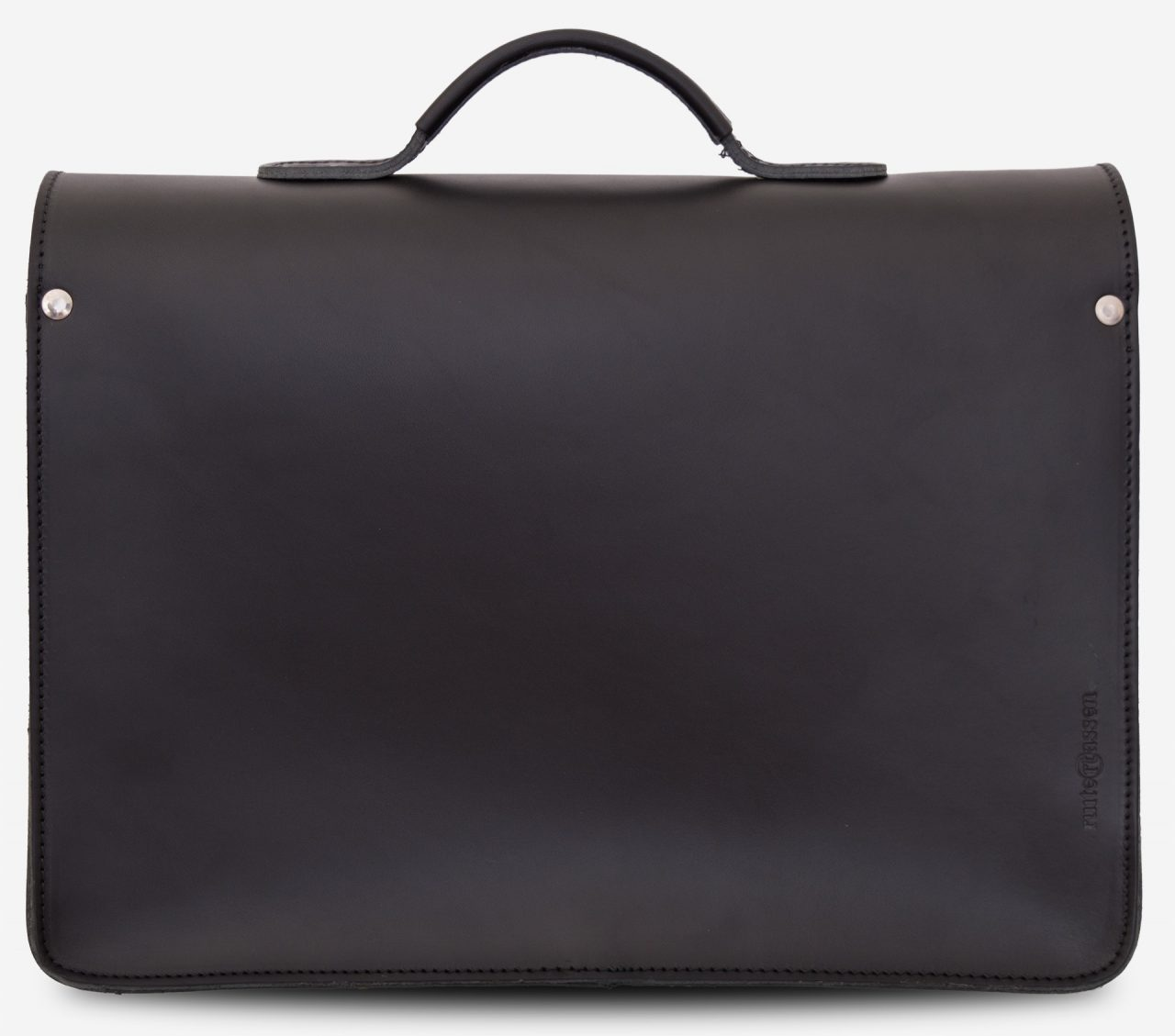 Back view of black leather briefcase with one compartment 112103.