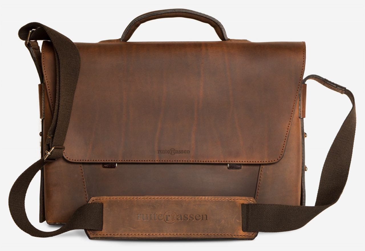 Front view of the vegetable-tanned brown leather briefcase bag with laptop pocket.