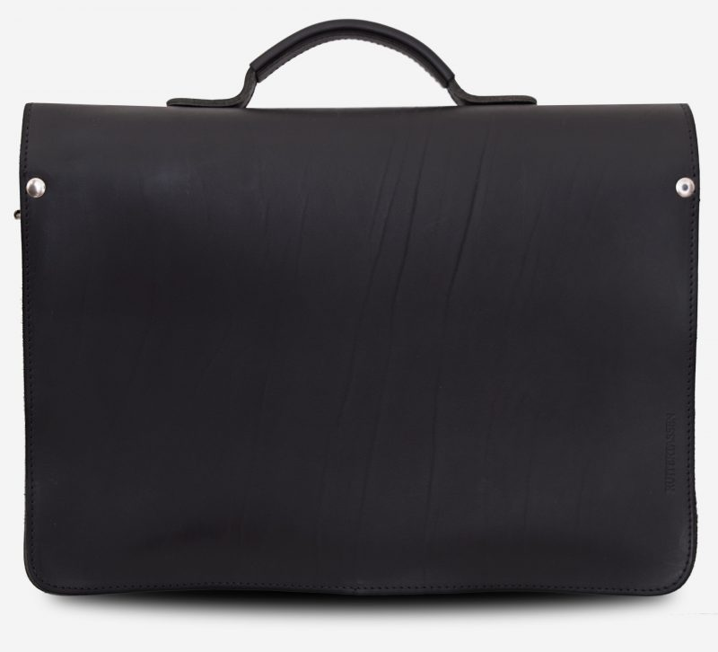Back view of black leather satchel briefcase with asymmetric front pockets 112137.