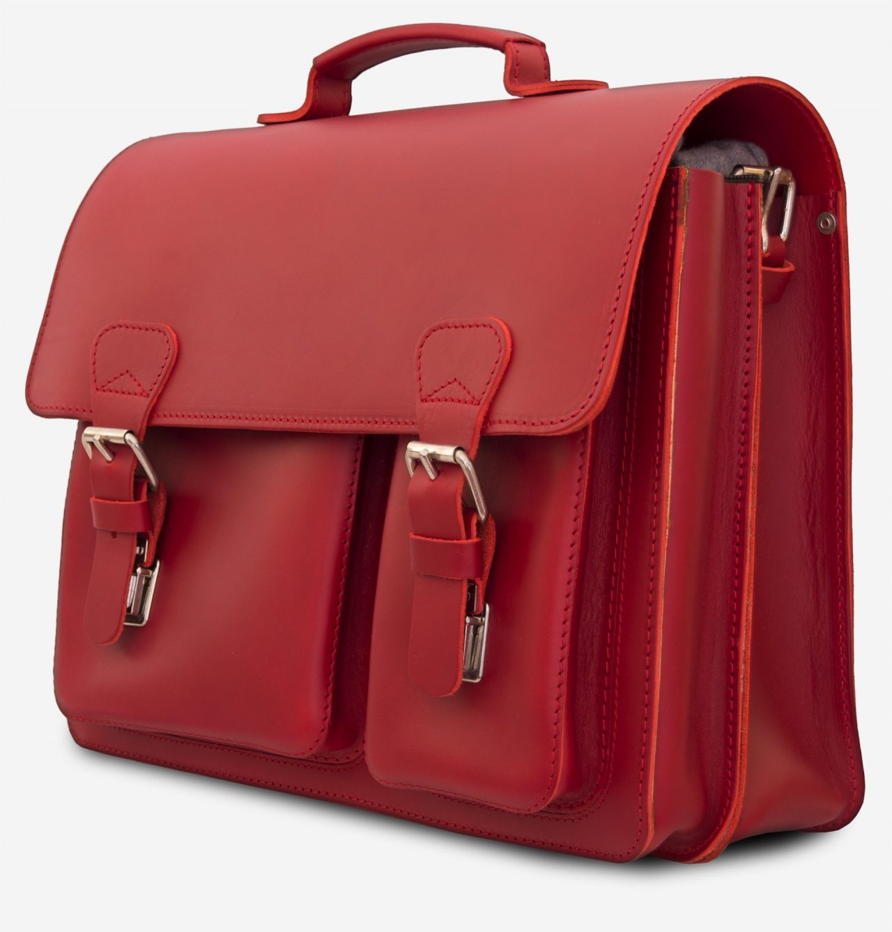 Side view of red leather satchel briefcase bag with 2 gussets and asymmetric front pockets for women - 152137.