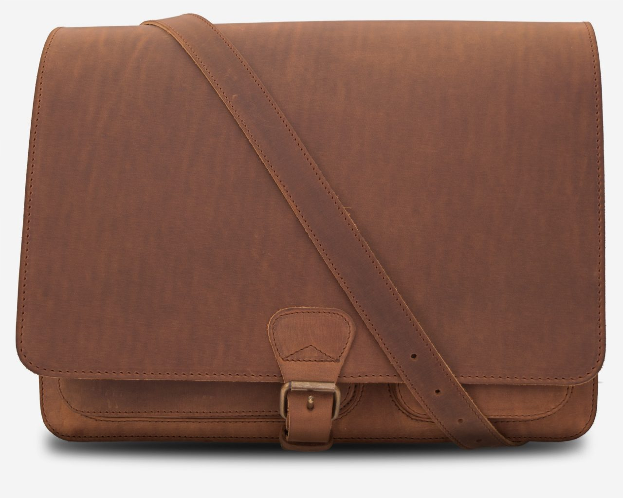 Front view of the large brown leather messenger bag with shoulder strap.