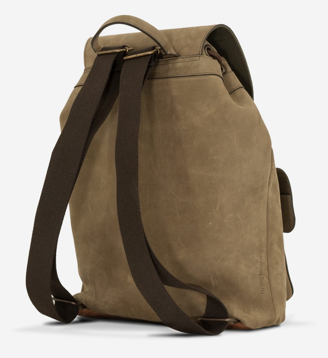 Back view of the handmade soft leather backpack.