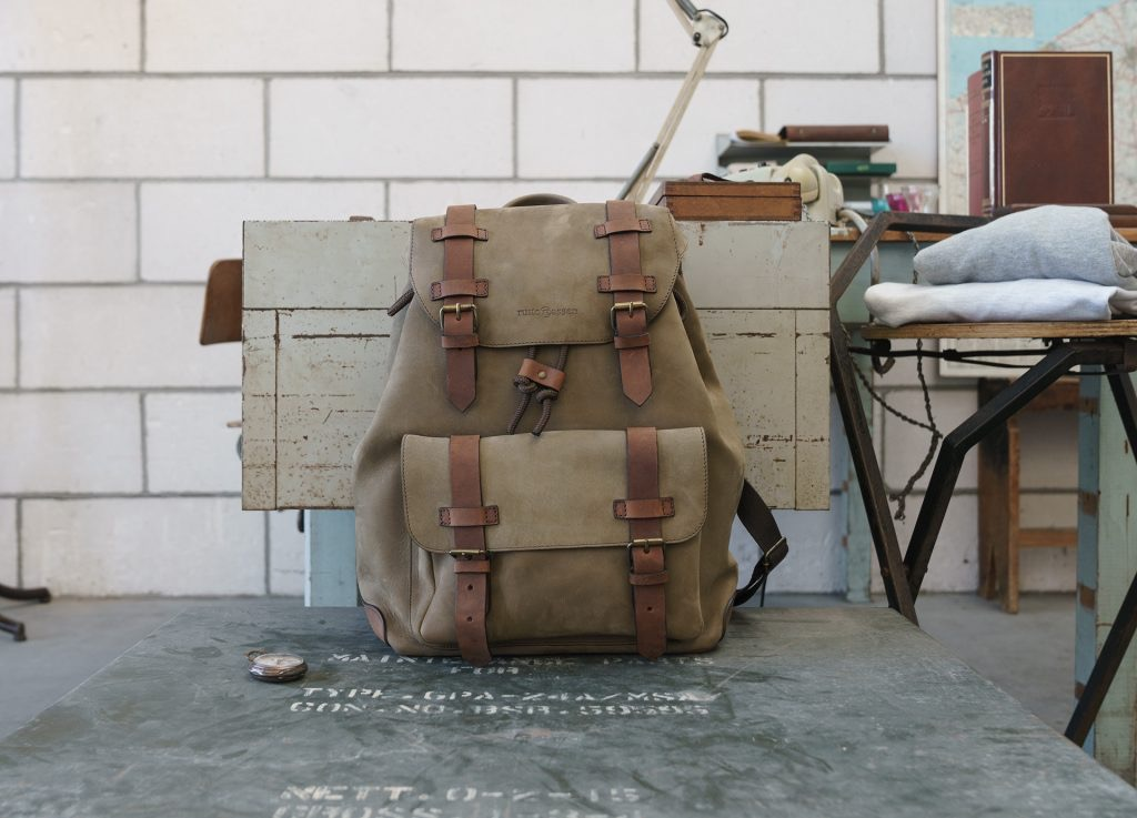 Front view of the beautiful soft leather backpack.