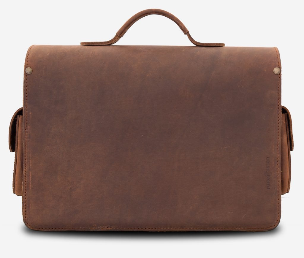 Back view of brown leather camera bag.