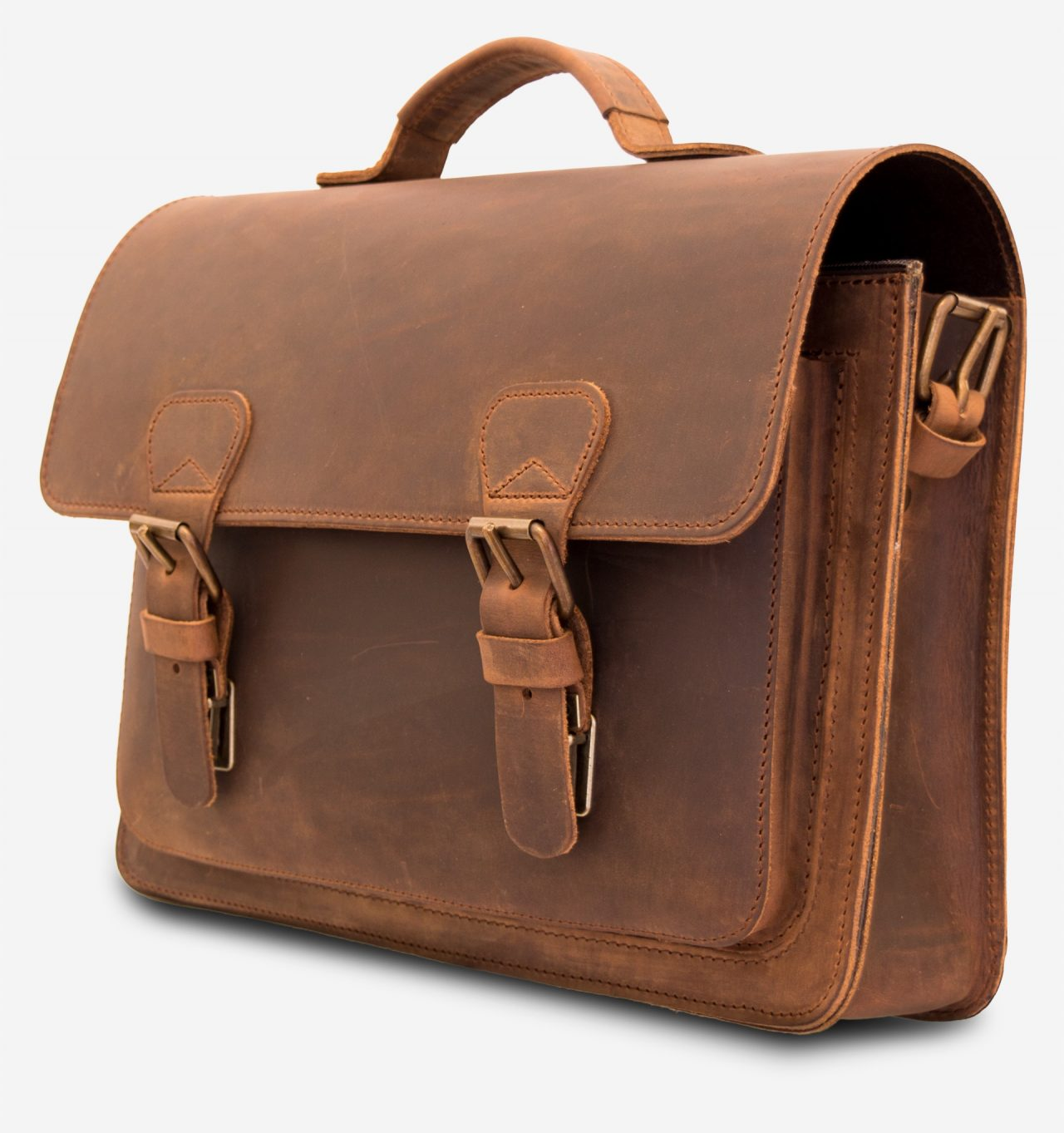 Front view of the vintage leather briefcase with one compartment and one front pocket.