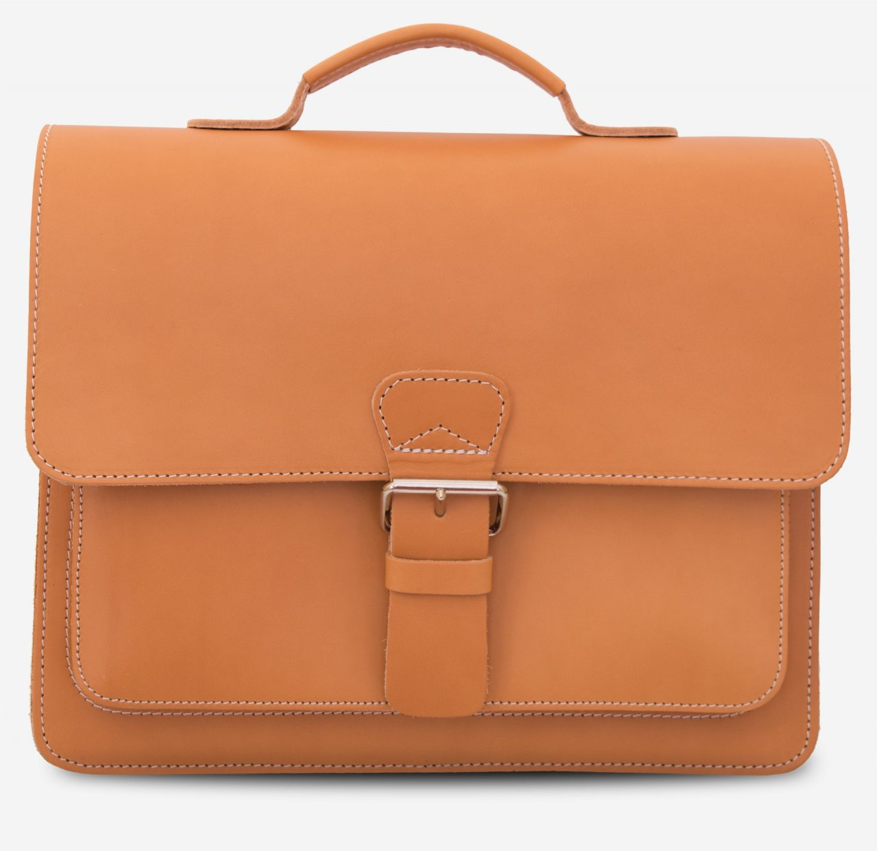 Front view of the full grain tan leather briefcase.