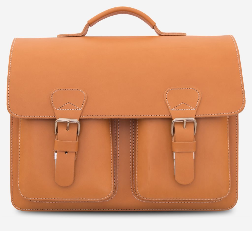 Front view of the Professor tan leather satchel with 3 compartments and 2 asymmetric front pockets.