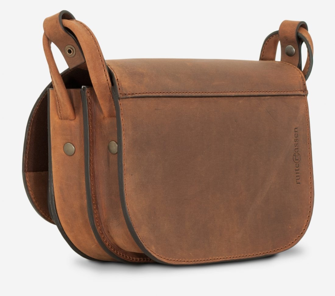 Back view of the handmade brown leather shoulder bag for women.