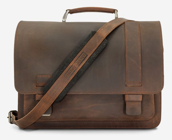 Front view of the vegetable-tanned brown leather satchel briefcase for doctors.