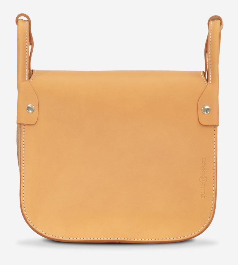 Back view of the elegant tan leather shoulder bag for women.
