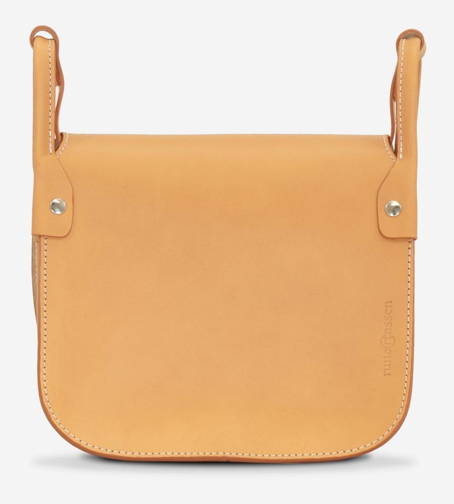 Back view of the elegant tan leather shoulder bag for women.