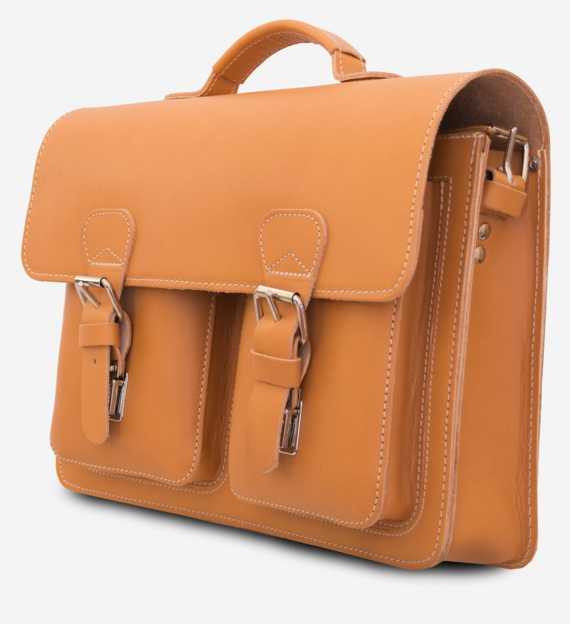 Tan leather satchel briefcase with one main compartment and two front pockets.