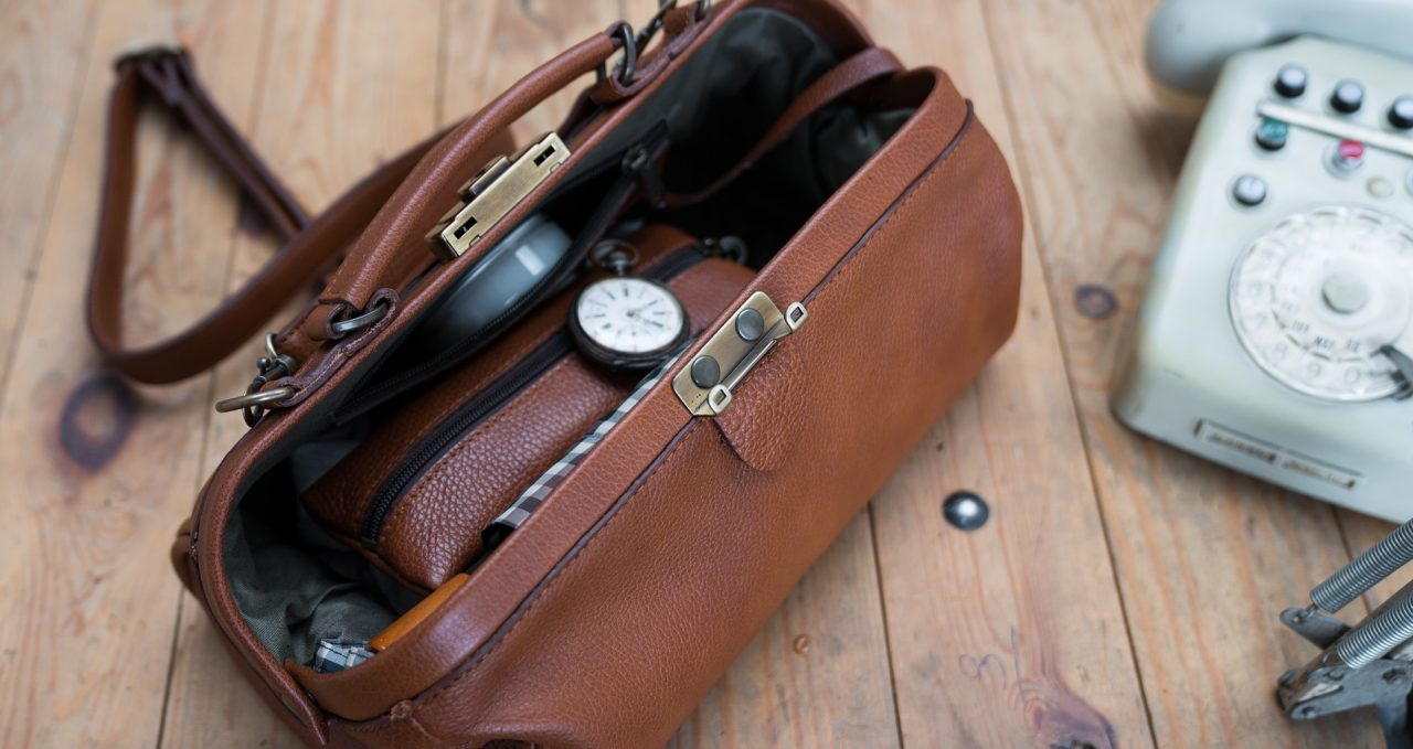 Top view of the soft brown leather doctor bag for women.