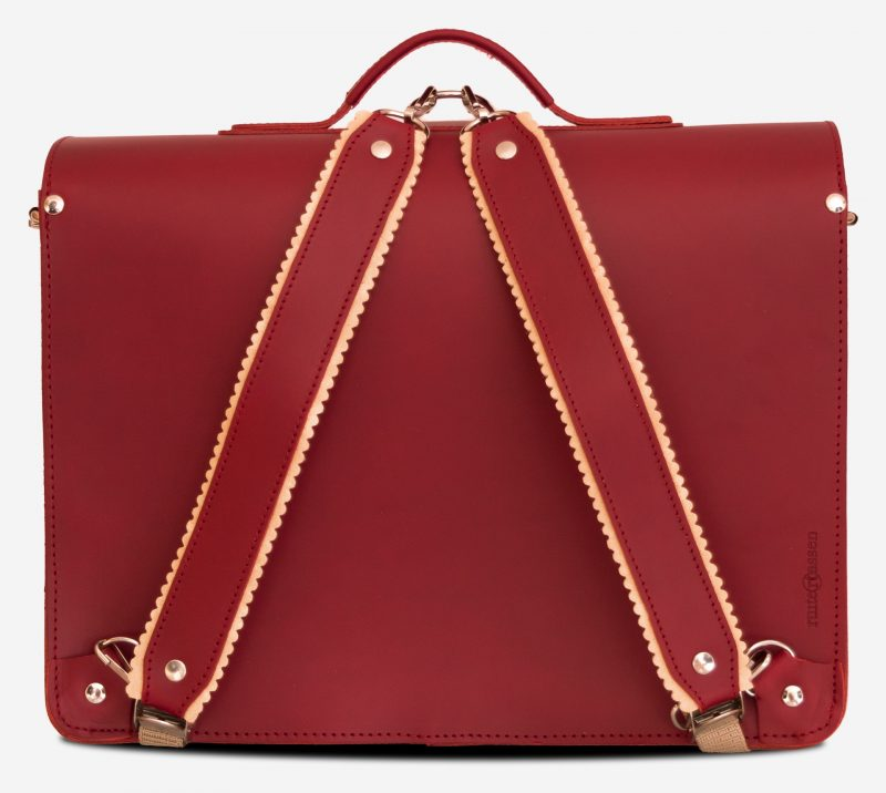 Back view of red leather satchel backpack with 2 gussets and asymmetric front pockets for women - 152237.