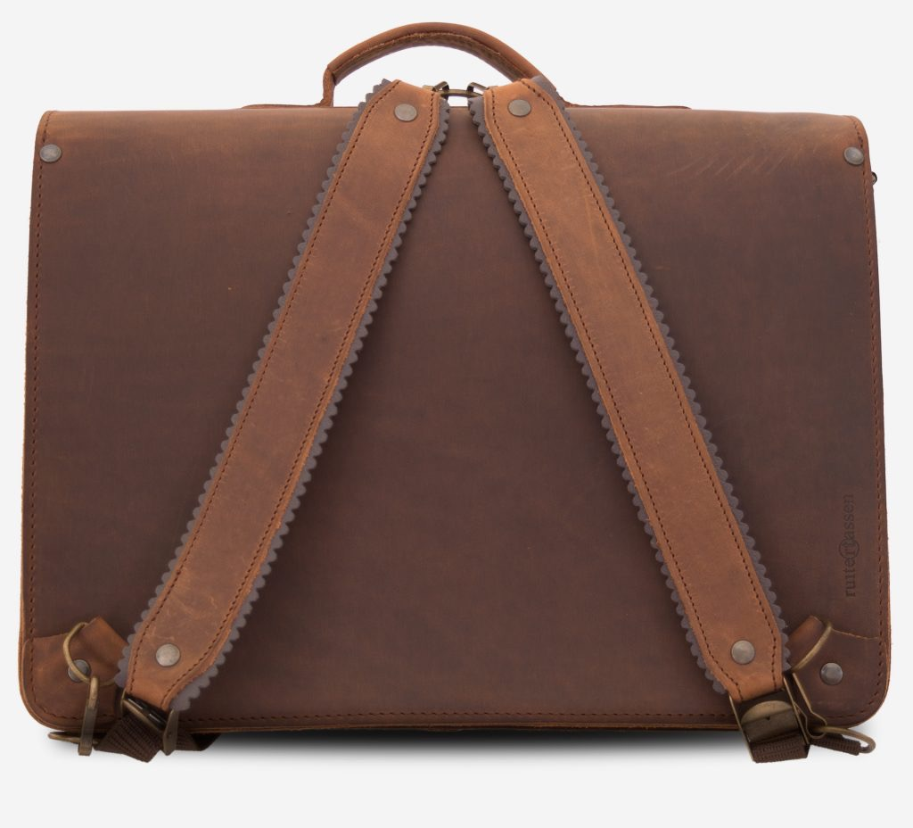Back view of the large brown leather backpack satchel fitted with back straps.