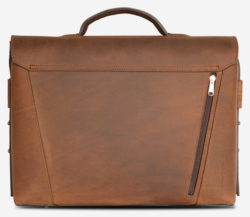 Back view of the large vegetable-tanned brown leather briefcase bag with back pocket.