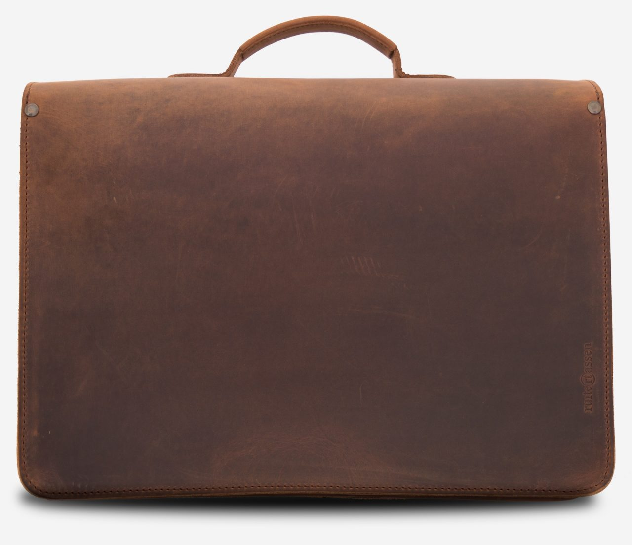 Back view of the brown leather satchel briefcase with Ruitertassen logo.