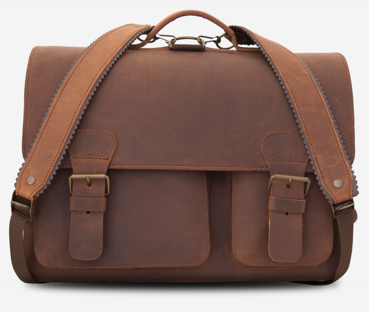 Front view of large brown leather satchel briefcase fitted with leather back straps.