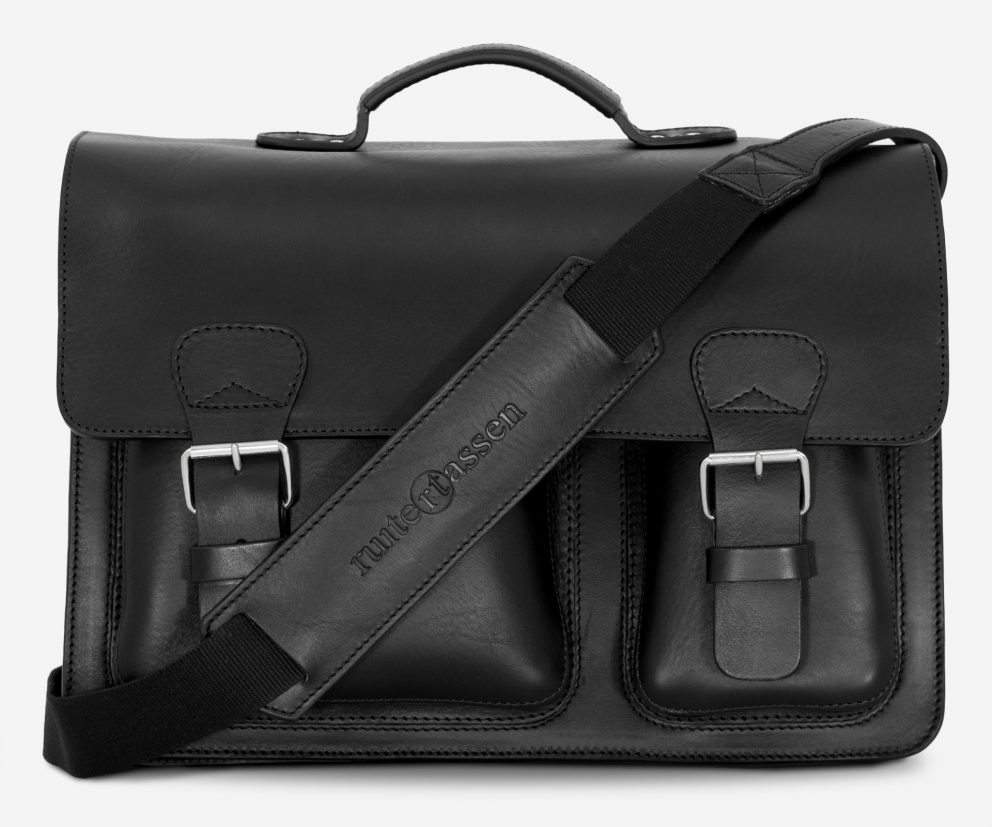 Front view of black leather laptop satchel bag with 3 gussets and asymmetric front pockets 112342.