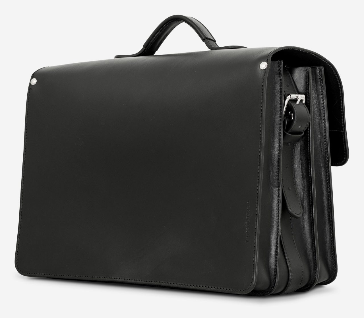 Back view of black leather laptop satchel bag with 3 gussets and symmetric front pockets 112358.