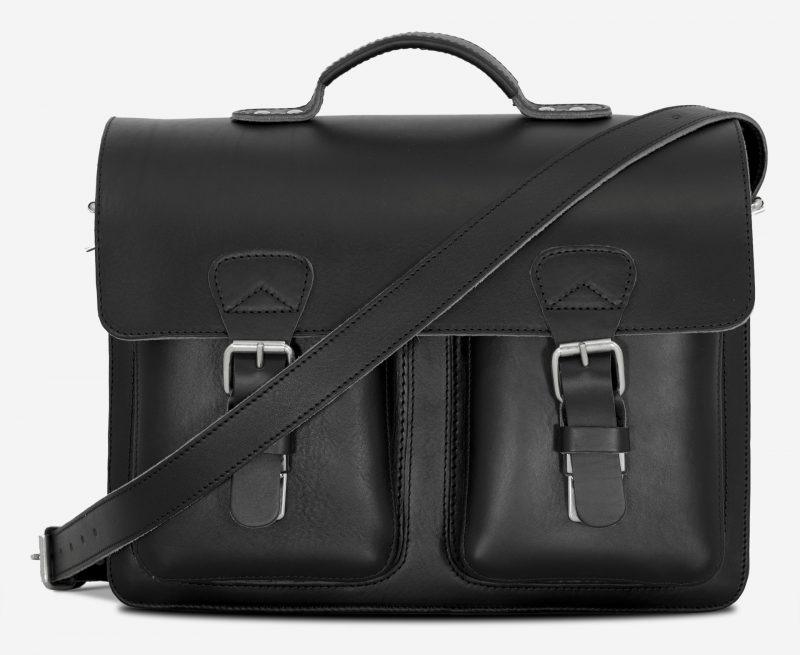 Front view of large black leather briefcase with 3 gussets and symmetric front pockets 112158.