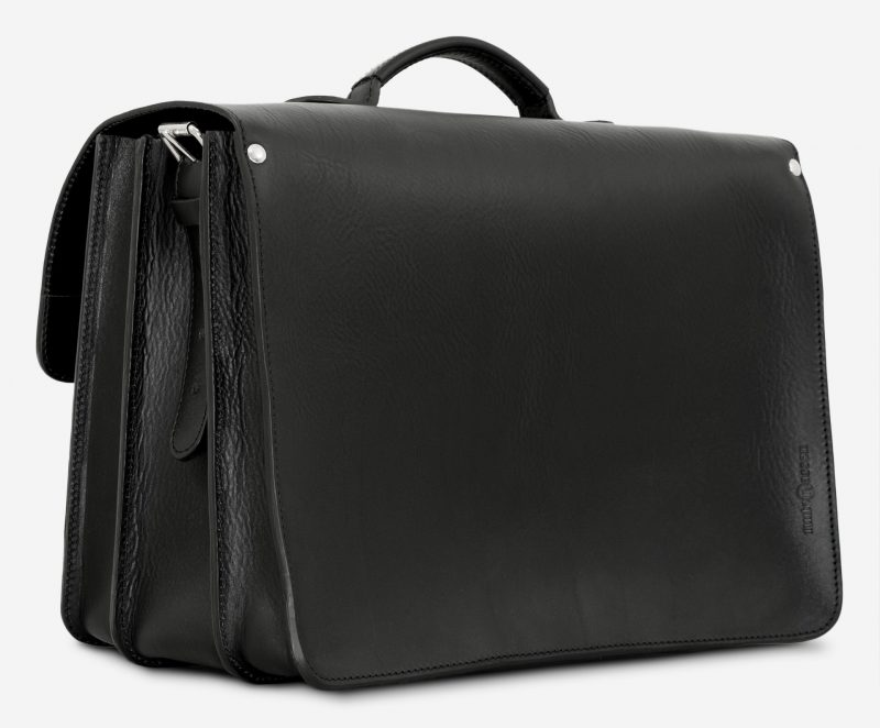 Back view of black leather laptop satchel bag with 3 gussets and asymmetric front pockets 112342.