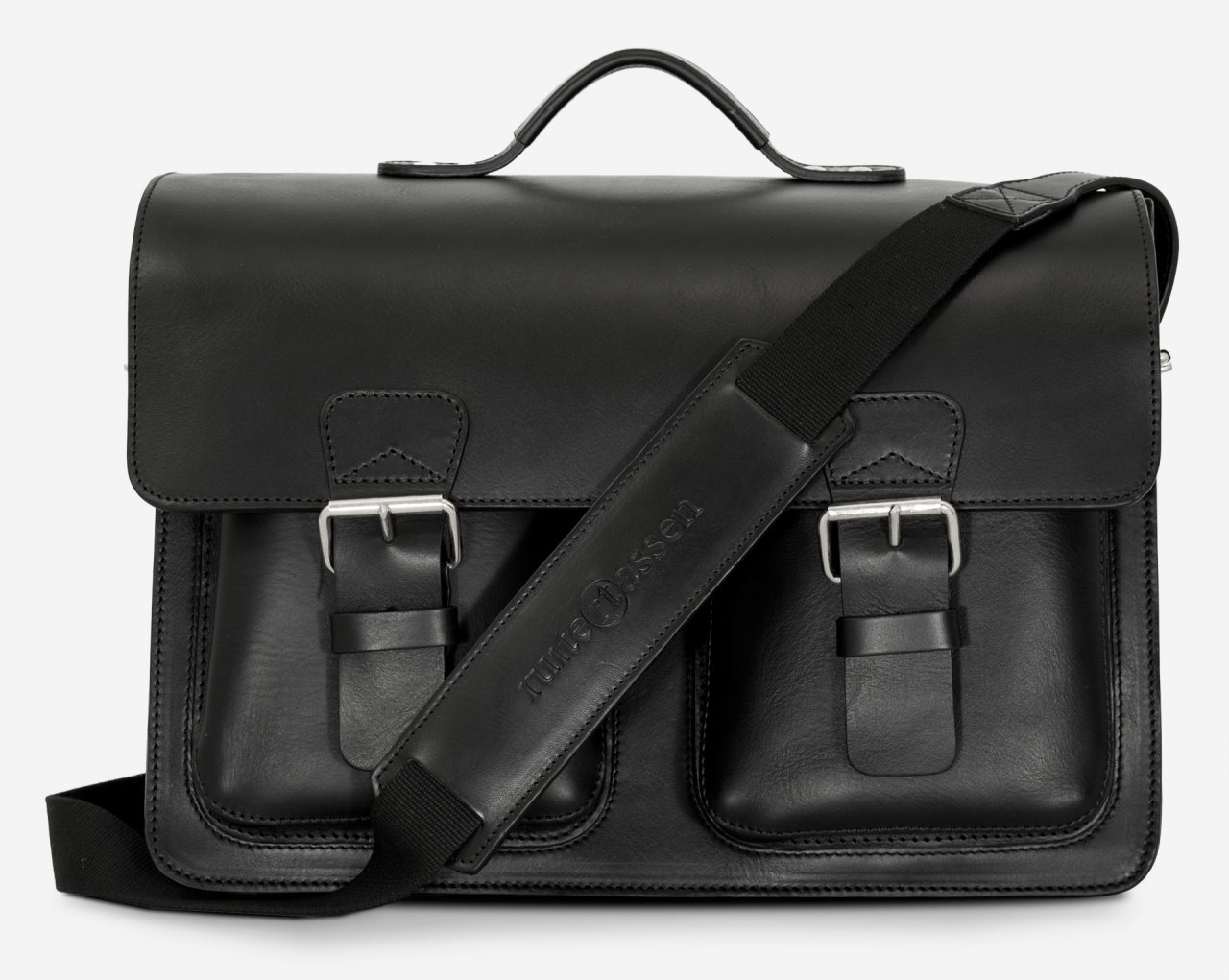 Front view of black leather laptop satchel bag with 3 gussets and symmetric front pockets 112358.
