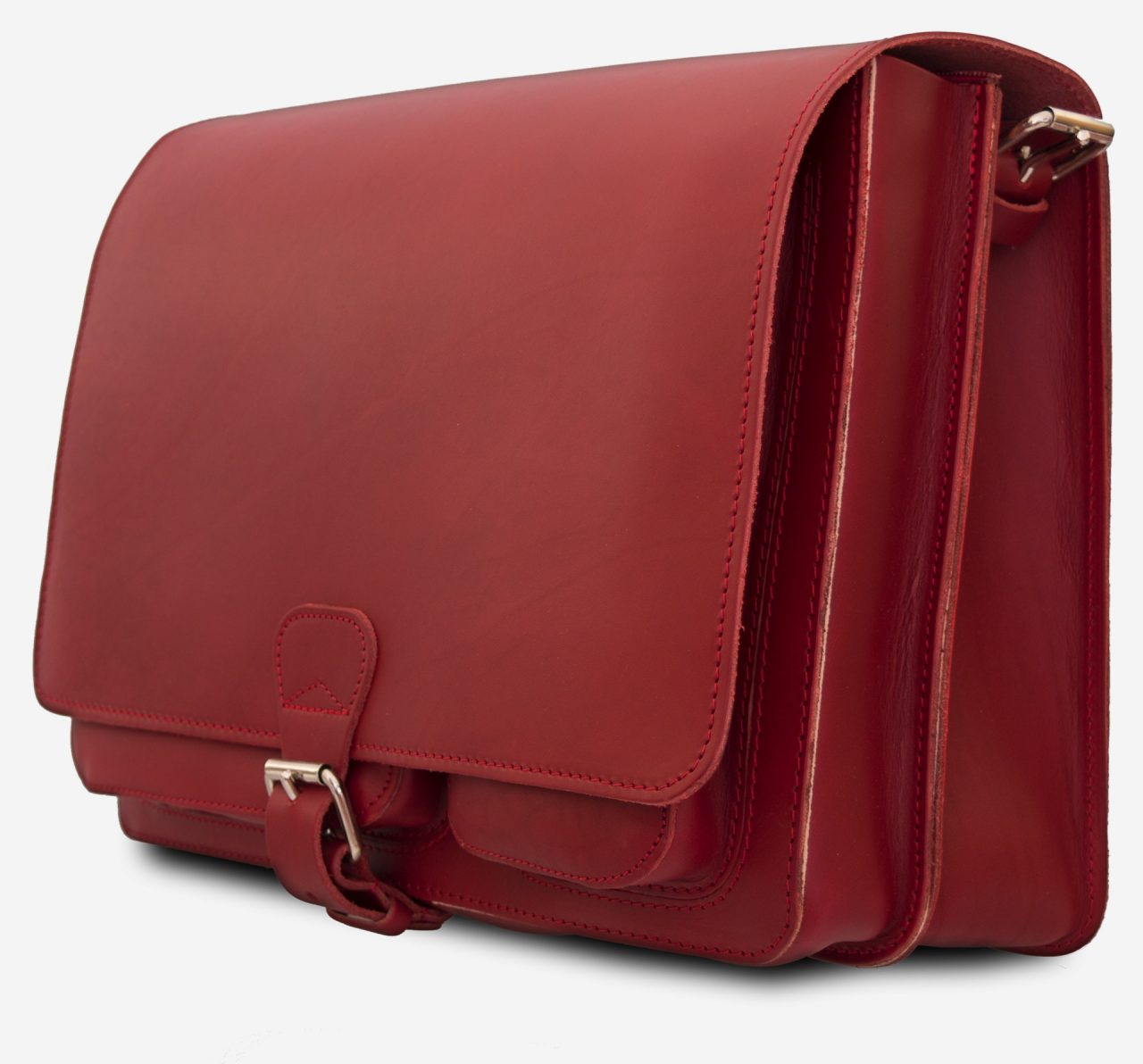 Side view of large red leather messenger bag with 2 gussets and asymmetric front pockets for women - 152537.