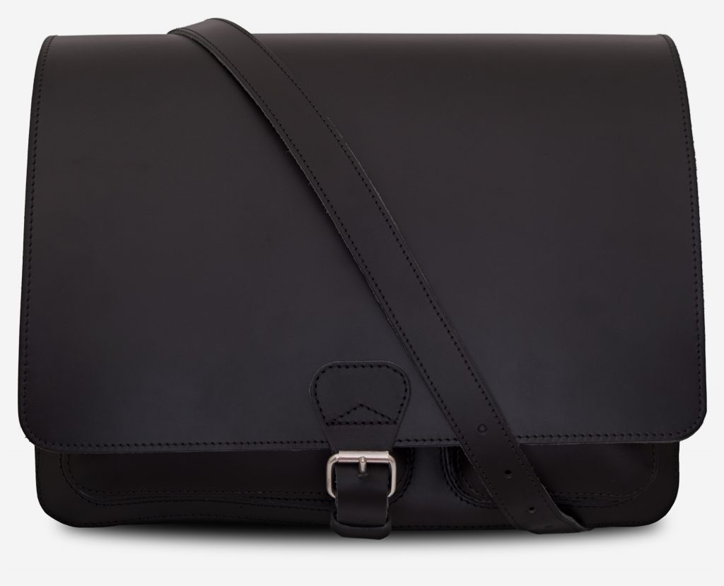 Front view of black leather messenger bag with 2 compartments and asymmetric front pockets - 112537.