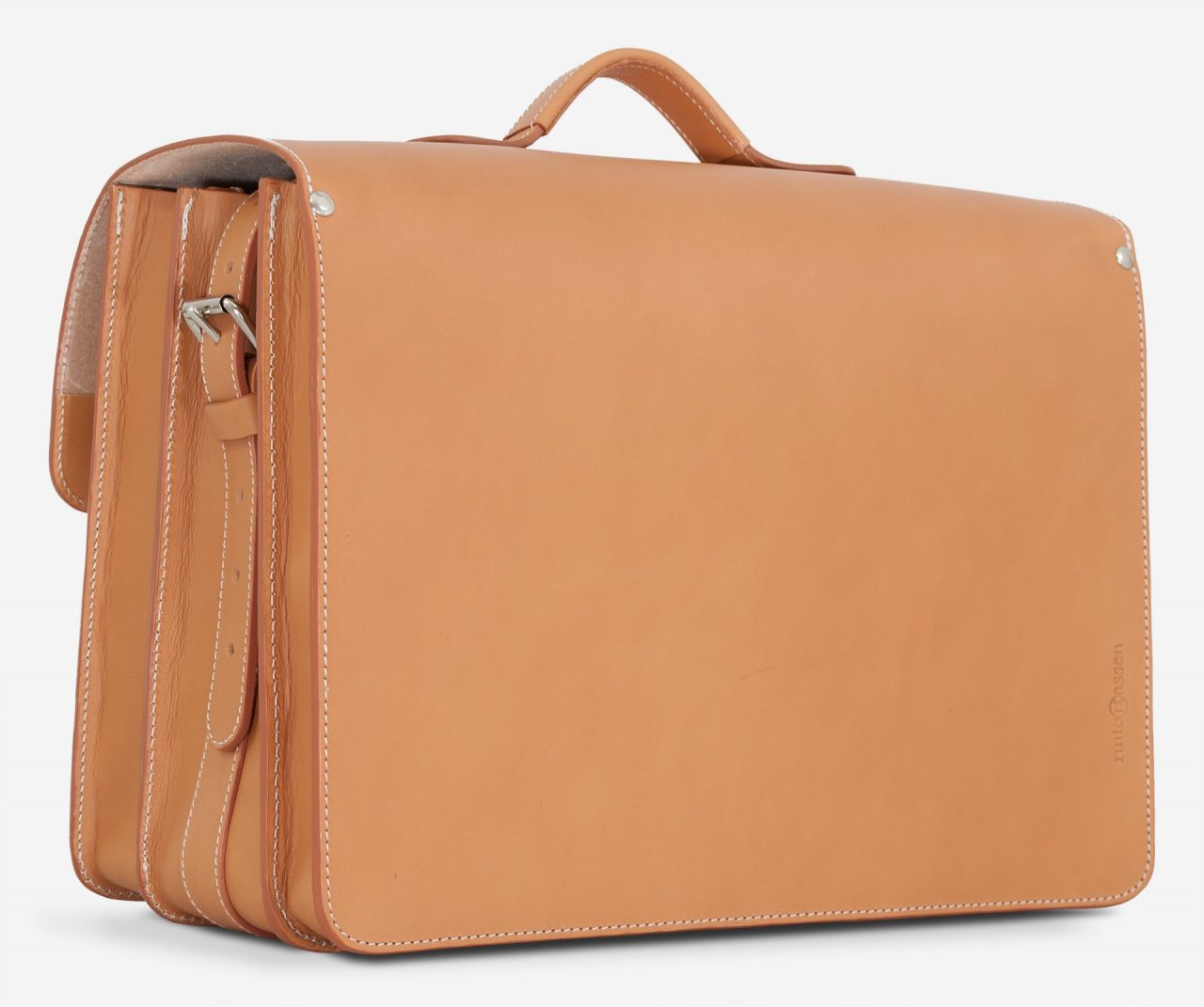 Back view of the Ruitertassen tan leather satchel briefcase.