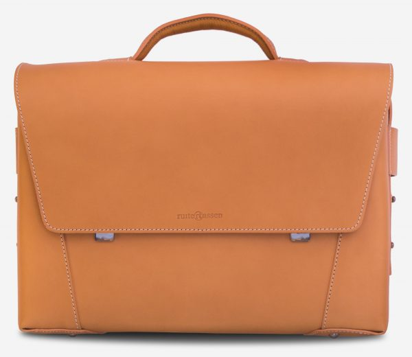 Front view of the large vegetable tanned leather briefcase bag with laptop pocket - 102178.